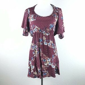 Band of Gypsies Open Back Floral Tunic Top Small